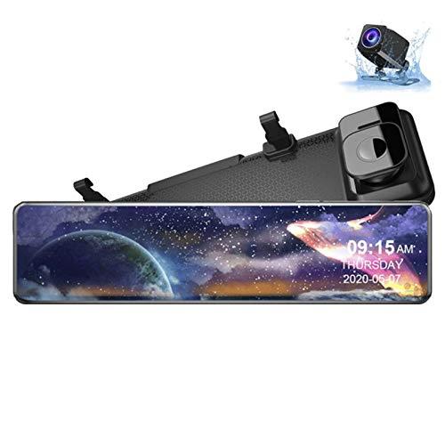Cámara de Tablero Sensor Cámara de Coche 4K Car Video Recorder 12'Dash CAM Redactor Recorder Auto DVR Espejo Dashcam 24h Monitor de estacionamiento
