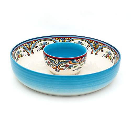 Euro Ceramica Zanzibar Collection Vibrant Chip and Dip Bowl, 2 Piece Set, Spanish Floral Design, Multicolor White and Blue