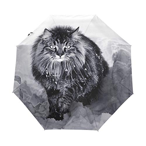 Ombrello da viaggio piccolo Antivento da esterno Pioggia da sole UV Auto Compatto Ombrello da 3 pieghe Copertura - Un gatto delle foreste norvegesi nella neve