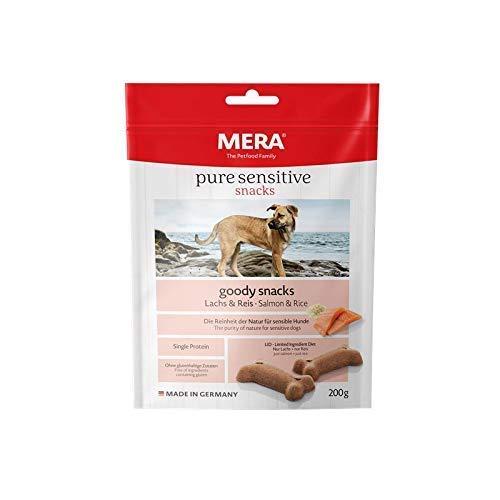 MERA pure sensitive goody snack Lachs & Reis Hundeleckerlies – Hundekekse als Snack für nahrungssensible Hunde