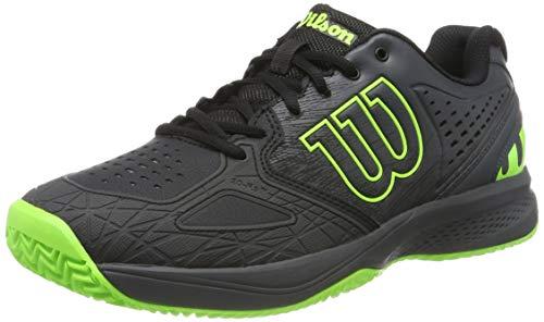 Wilson Kaos Comp 2.0, Zapatilla de Tenis para tenistas de Cualquier Nivel, para Todo Tipo de Superficies, sintético, para Hombre, Color Negro/Gris/Verde, Talla 44 EU