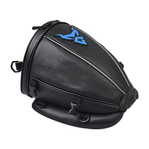 AMZH 30 * 25 * 20cm Impermeable Bolsa de Cola de Moto Patrón de Fibra de Carbono + EVA + Cuero de Microfibra Mochila Moto 0.65kg Multifuncional Bolsa Trasera para Moto