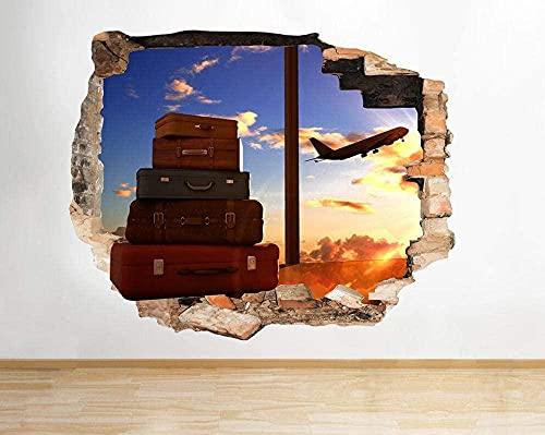 Avión Viaje Aeropuerto Cool Smashed Wall Decal 3D Art Stickers Habitación de vinilo mural cartel papel tapiz 70x100CM