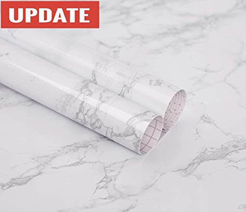 Marble Paper Granite Gray/White Wallpaper Roll Kitchen countertop Cabinet Furniture is renovated Thick PVC Easy to Remove Without Leaving Marks Upgrade (24