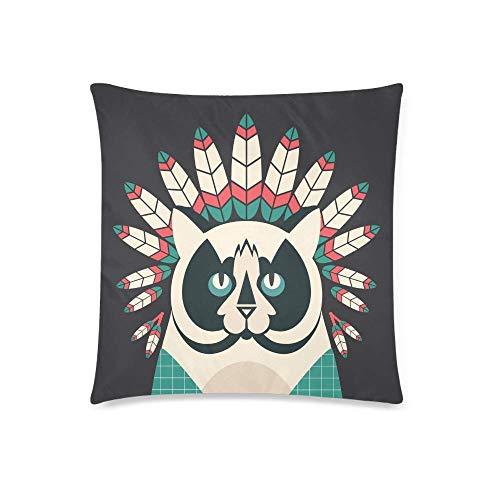 WXM Funda de cojín decorativa con diseño de gato hipster con plumas de indios americanos, funda de almohada decorativa con cremallera, 45,7 x 45,7 cm