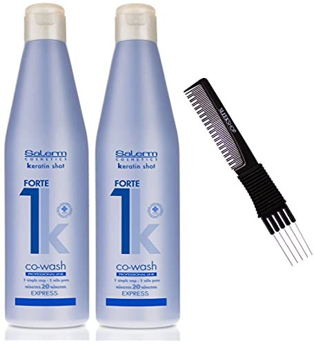 Salerm Keratin Shot FORTE (Stong) Co-Wash, 20 Minutes Express Straightening Treatment (w/ Sleek Teasing Comb) Straight Hair System (18.3 oz (PACK OF 2))