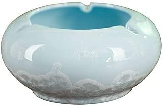 LIFEIYAN Ash Tray Ashtray, Cigar Large Ceramic Ashtray for Patio/Outdoor Use 4 Cigar Rest Portable Ashtray (Color : Blue)