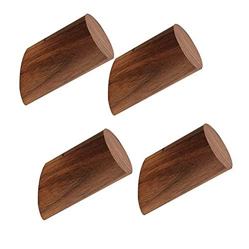 BEFAERY Paquete de 4 ganchos para abrigo de madera de nogal negro, perchero de pared para colgar sombrero, toalla, bata, decoración rústica moderna