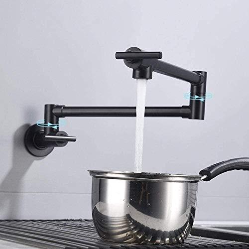 Grifos para Cocina Relleno de Ollas Montado en la Pared Universal Monomando Grifo de Agua Fría Grifo de Cocina Telescópico Multifuncional Fregaderos de Cocina Grifo Cromado-Negro