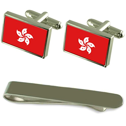 Select Gifts RAE de Hong Kong Bandera Gemelos Plata Clip Grabado Set de Regalo