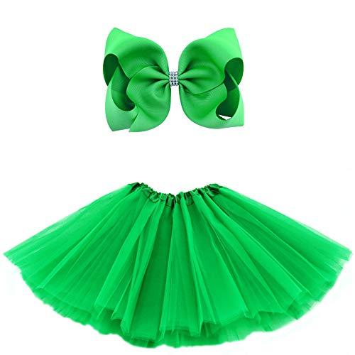 BGFKS 5 Layered Tulle Tutu Skirt for Girls with Hairbow, Ballet Dressing Up Kid Tutu Skirt Green