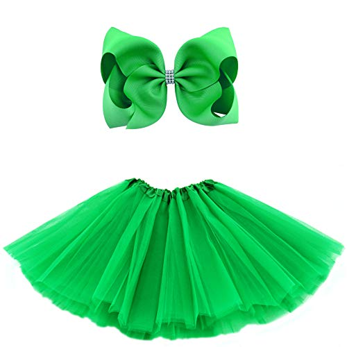 BGFKS 5 Layered Tulle Tutu Skirt for Girls with Hairbow and Hairties, Ballet Dressing Up Kid Tutu Skirt (Green, 8-15 Years Old)