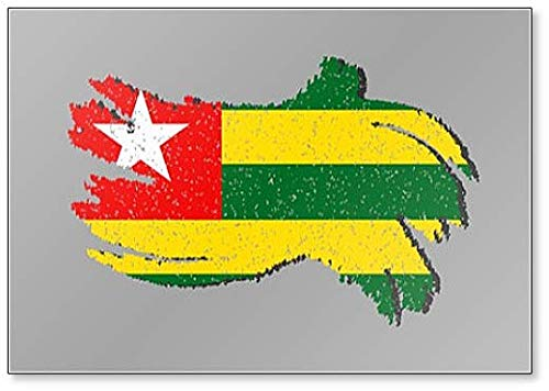 Togo Grunge Flagge, Togo Flagge mit Schatten Illustration Kühlschrankmagnet