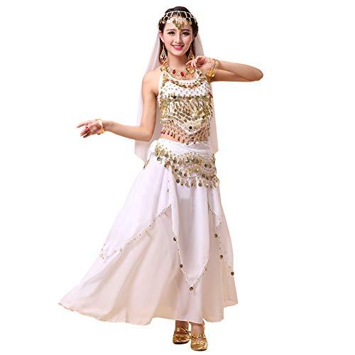 Xinvivion 4 Piezas Mujer Señoras Danza del Vientre Profesional Conjunto de Vestuario Danza India Rendimiento Outfit Traje