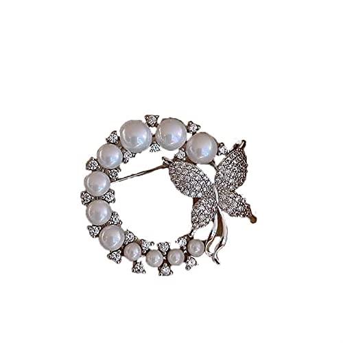 Broches, Pasadores, Moda y Sencillez Broche de una dama con una mariposa que descansa sobre una guirnalda de perla en forma de C. Botones de verano brillantes for fijar las decoraciones de la ropa. Ad