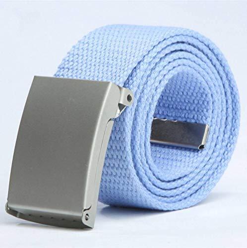 FDDSSYX Cinturón Lona,Azul Cielo Hombres Mujeres Cinturón De Lona Moda Casual Cinturón De Hebilla De Doble Anillo Cinturones De Jeans De Rayas De Color para Mujeres Correa Masculina, 100