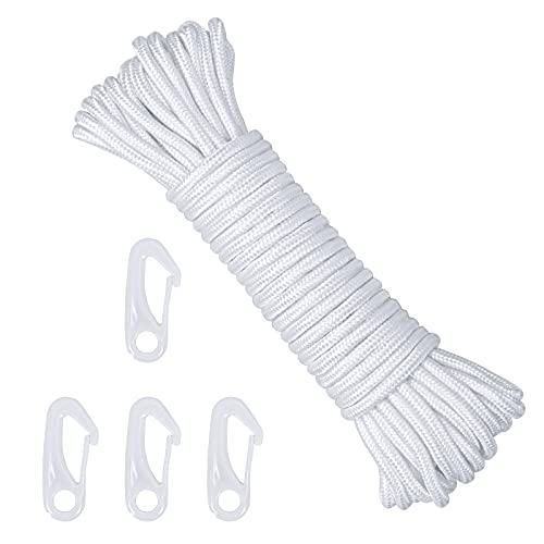 CINVEED 15m Fahnenseil Fahnenmast Seil mit 4 Fahnenmastclip Nylon Hissseil Weiß Ersatzseil Nylonseile Flaggen Zubehör Garten für Heimseil Zelt Outdoor Camping Wäscheleine Himmelsvorhang