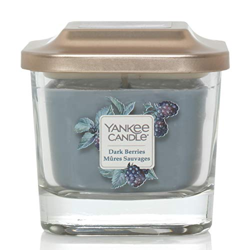 Yankee Candle Elevation Collection con Coperchio della Piattaforma Candela Quadrata a 1 Stoppino, Bacche Scure, Piccola