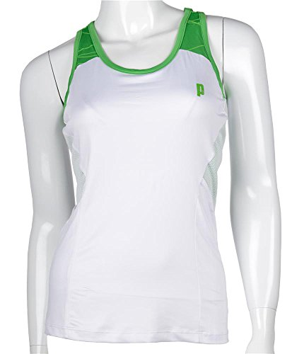 Prince Jr Racerback G Top de Tenis, Unisex niños, Blanco/Verde, 10 USA