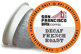 SF Bay Coffee DECAF French Roast Compostable Coffee Pods, 80 Ct., Dark Roast, OneCUP, K-Cup Compatible including Keurig 2.0, Swiss Water Process Decaffeinated