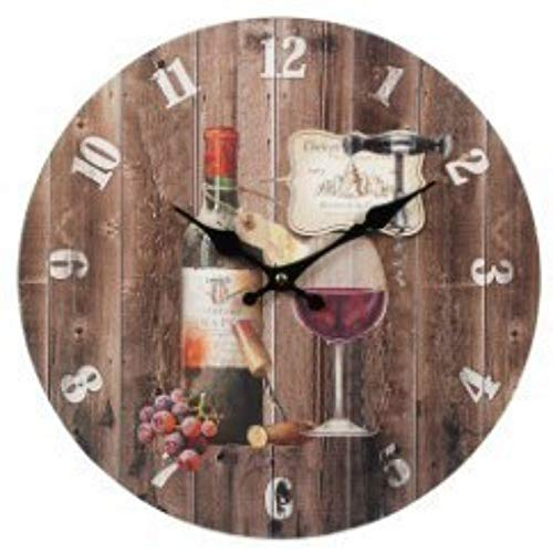 CAPRILO. Reloj de Pared Decorativo de Madera Copa y Botella Vino .Adornos. Decoración Hogar. Muebles Auxiliares. Menaje Cocina. Regalos Originales. 34 x 34 x 4 cm.