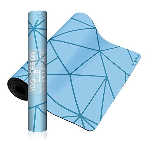 Yoga Design Lab | Esterilla Infinity | Textura y diseño Antideslizante para Alinear y apoyar su práctica. | Ecológica | 5mm | Acolchada | Incluye Cinta! (Geo Aqua)