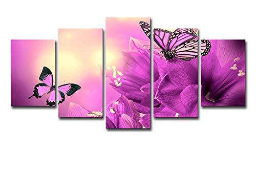 AHJJK Leinwandbilder Deko Bilder L - 100 x 55 cm - Lila Schmetterling In Der Sonne, Leinwanddrucke Wandbilder Wohnzimmer Wohnung Deko Kunstdrucke 5 TLG Rahmen - Fertig zum Aufhängen
