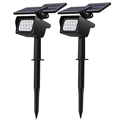 CLY Solarleuchte garten【Neue Pro-Version】, Solar Strahler für Garten mit 3 Helligkeitsstufen, 13 LEDs Wasserdicht Solarstrahler, Gartenbeleuchtung für Bäume, Büsche,Wand, Sträucher (2 Stück)