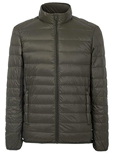 ZITY Lightweight Coat for Men, Water Repellent Down Jacket,Army Green US M