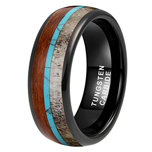 iTungsten 8mm Black Tungsten Carbide Rings for Men Women Wedding Bands Deer Antler Koa Wood Turquoise Inlay Domed Polished Comfort Fit