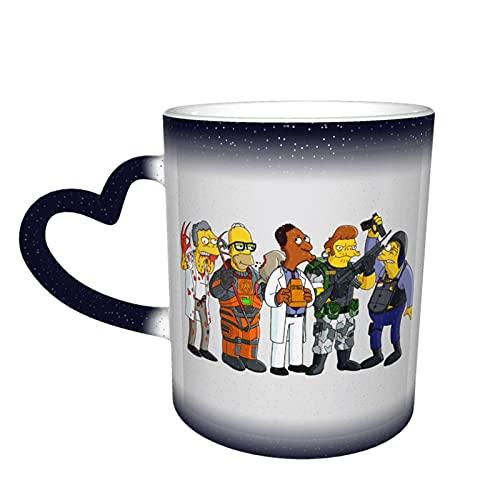 Simpsons - Taza cambiante de color en el cielo, cerámica sensible al calor, cambiante, taza de viaje, taza de café, tazas de té, color azul
