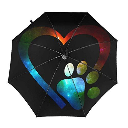 Galaxy Paw Print Heart Paraguas automático Triple Plegable Parasol Sombrilla Sombrilla