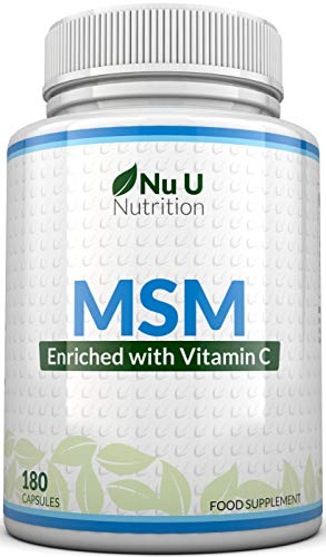 MSM Capsules - 180 Methylsulfonylmethane Capsules (3 Month Supply) - MSM with Added Vitamin C and Selenium - Higher Strength Than 1000mg MSM Tablets at 1200mg