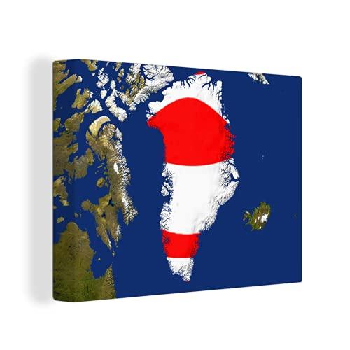 Leinwandbild - Satellitenbild von Grönland mit der Flagge - 40x30 cm