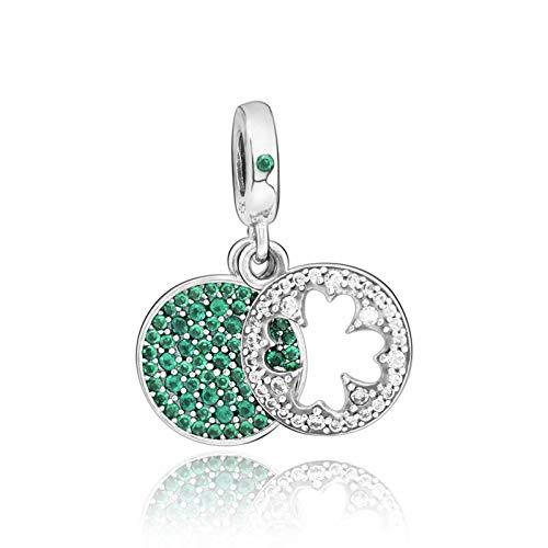 Pandora 925 plata esterlina colgante DIY clásico de plata esterlina suerte cuatro hojas trébol encanto perlas para Pandora pulseras originales joyería femenina
