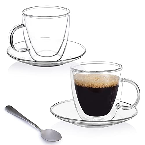 Insulated 5 Oz. Espresso Cups – Set of 2 Double Wall, Borosilicate Glass Espresso Mugs and Saucers with Spoons – Handblown Coffee Bar Accessories for Hot and Cold Tea, Latte by Lumi & Numi