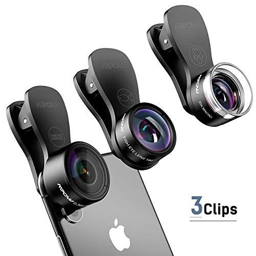 Mpow Fisheye Objektiv,3 in 1 Clip-on-Objektiv-Kits, 180 Grad Fisheye Fischauge Lens + 0.36X Weitwinkel Lens + 20X Makro Lens mit 3 Separate Lens für iPhone, HTC usw.