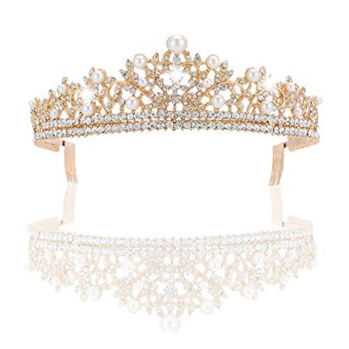 Lurrose Perla Tiara Princesa Diamantes de imitación Boda Reina Corona Joyas Accesorios...