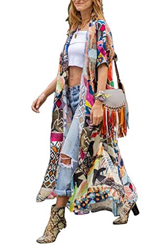 Kimono Women' s Kimono Cardigan Beach Cover up Geometry Print Short Sleeve Loose Open Front Cotton Cardigans Duster (282)