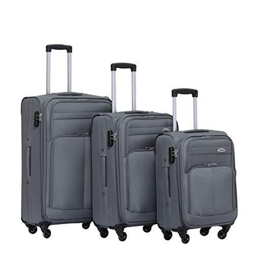 BEIBYE 4 Rollen Reisekoffer 3tlg.Stoffkoffer Handgepäck Kindergepäck Gepäck Koffer Trolley Set-XL-L-M (Grau, Set)