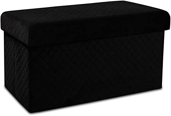 LYNSLIM Storage Ottoman Bench Collapsible Folding Bench Chest With Cover Perfect Toy And Shoe Chest Pouffe Ottoman Hope Chest Seat Foot Rest Contemporary Faux Suede Black Medium