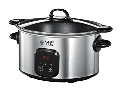Russell Hobbs 22750-56 Slow Cooker con Pentola per Rosolare Antiaderente, 200 W, Argento