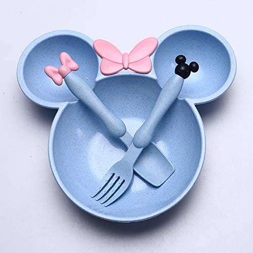 Juego de 3 platos de cena con cuchara tenedor (azul)