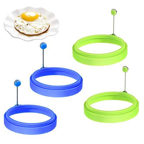 HAPPY FINDING 4 Stücke Silikon Spiegeleiform Ringe Form, Runde Ei Pfannkuchenform für Bratpfanne Pfannkuchen Eier Kochen - Grün und blau