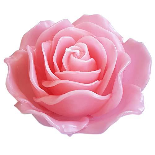 Große Schwimmkerze Dekokerze Standkerze Rosenblüte handgemacht mit 21 Rosenblättern 15x7,5cm in pink