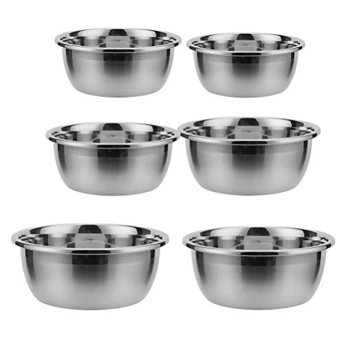 6Pcs Stainless Steel Large Capacity Mixing Bowl Multifunctional Heavy-duty Non-skid Soup Pot Egg Mixing Food Container (Mixed Size)