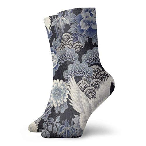 Pulongpoq Socken Strümpfe Blue Flower Crane Sportsocken Casual Styles Unisex Wicking Crew Kurze Socke für Running Fitness Travel Work