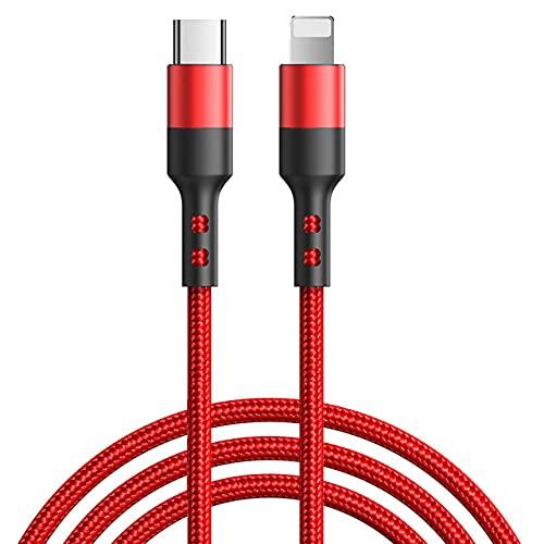 MLTRA PD 20 W USB C Cable cargador de carga rápida para iPhone 12 Mini 11 Pro Max XS X 8 7 Plus iPad USBC tipo c cable de cable largo accesorio 1M 2M (rojo, 2M)