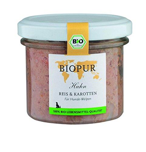 Biopur Geflügel, Reis und Karotten Bio Alleinfuttermittel für Welpen, 12er Pack (12 x 100 g)