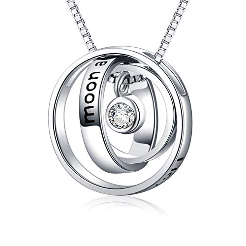 Sterling Silver Engraved I Love You to The Moon and Back Trinity Three Ring Pendant Necklace Jewellery Gifts for Women Girls